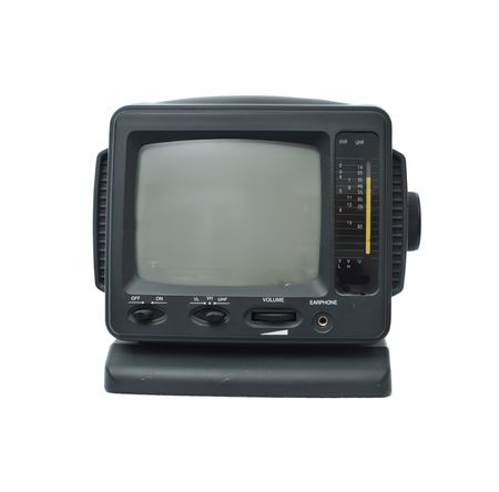 crt: Miniature Portable TV Isolated on White Background with empty screen