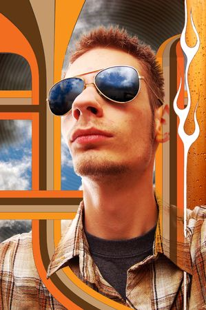 Young man looking upward to the sky with aviator sunglasses. photo