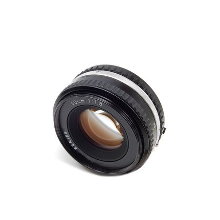 A 50mm camera lens isolated on white. Stock Photo