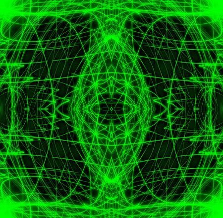 A long exposure that looks like complex green computer wireframes.