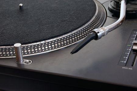 Closeup on a black DJ Turntable Stock Photo - 6044207