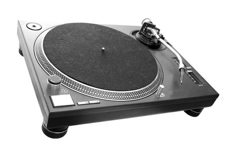 A black turntable isolated on white. Stock Photo - 6043013
