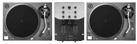 A set of two turntables and a mixer. photo
