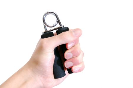 squeezing: A hand grip exersizer, isolated on white