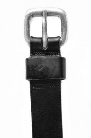 Cintura in pelle nera isolato su sfondo bianco  Archivio Fotografico - 6043681