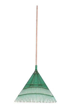 A standard isolated image of a green plastic rake. Stok Fotoğraf