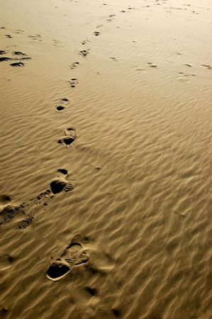 inprint: Footsteps printed into the beach sand.