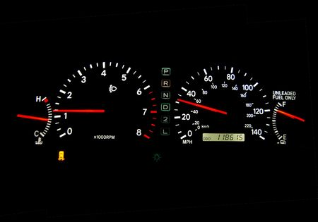 dashboard: Clear glowing speedometers in a car. Panoramic.