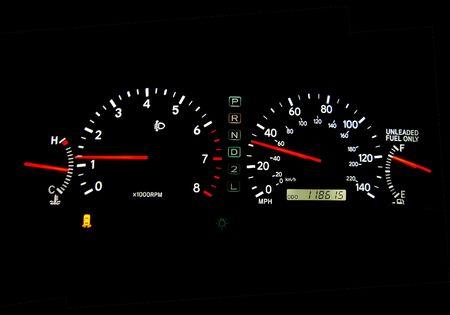 speedmeter: Clear glowing speedometers in a car. Panoramic.