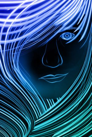 Woman with lots of hair made up of blue lines. Imagens