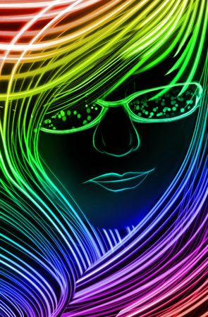 rainbow abstract: Woman with lots of hair made up of blue lines. Stock Photo