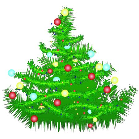 Christmas tree illustration isolated on white background. red, green, and blue ornaments.
