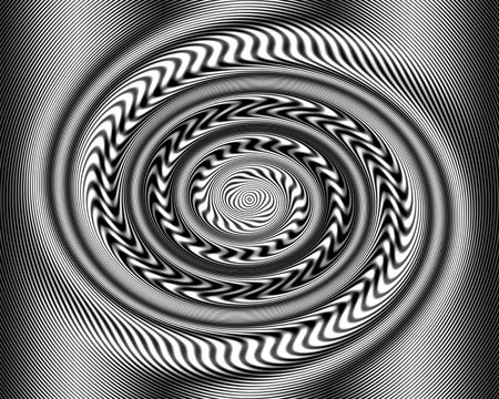 swirling: Black and white Optical Illusion Swirl Twirl. When you look at it, the lines appear to be moving.