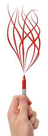 conflagration: A hand holding a red pen marker with flames coming out form it, isolated on a white background.