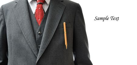sumptuous: Business suit with an expensive pen in the pocket, and copy space on the right side, isolated on white. Stock Photo