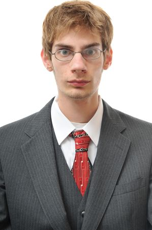 unemotional: Serious unemotional man in suit isolated on white background. Cold, emotionless, and robotic.