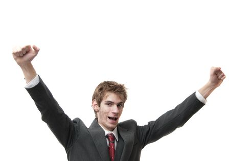 acclamation: Happy Man with arms up in air isolated on white Stock Photo