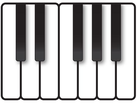 Piano keys showing one octave of notes in a smiple, minimalistic graphic illustration on black and white. illustration