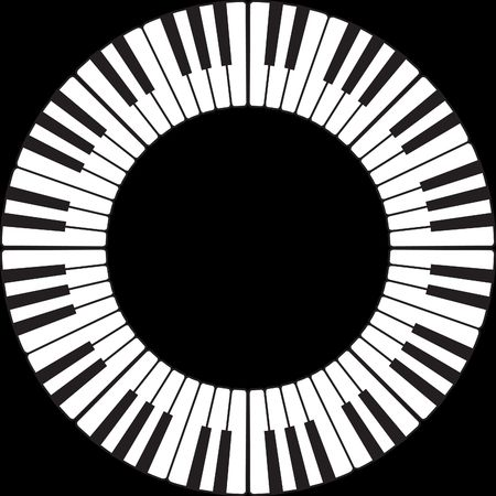 octave: Piano keys in an O ring circle isolated on black Stock Photo