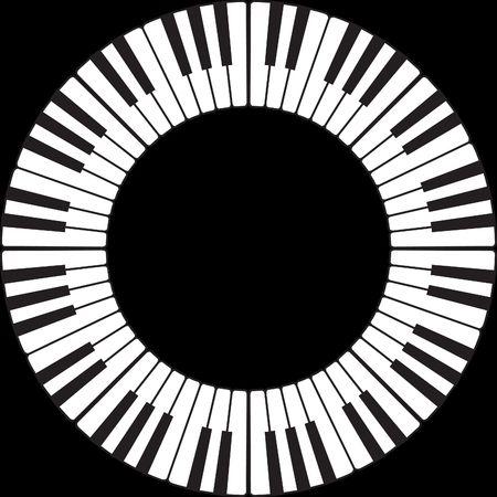 Piano toetsen in een O-ring cirkel geïsoleerd op zwart  Stockfoto
