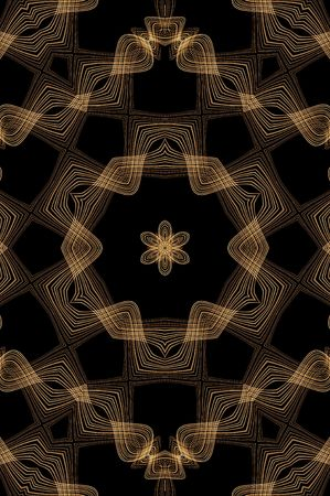 sorrel: Chocolate Seamless Fractal Pattern with brown wavy woven lines on black background. Very creamy indeed. Stock Photo