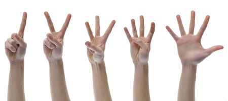 One Two Three Four Five Counting Finger Hands set group isolated on white background. photo