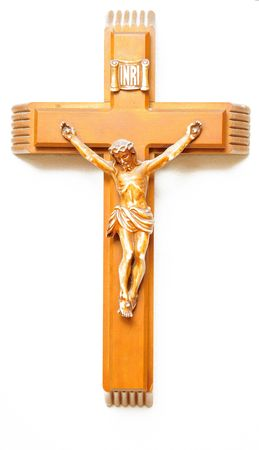 inri: A wooden crucifix with the lettering INRI carved at the top isolated on white background Stock Photo