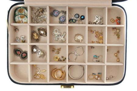 An open jewlery box with old jewelry inside isolated on a white background photo