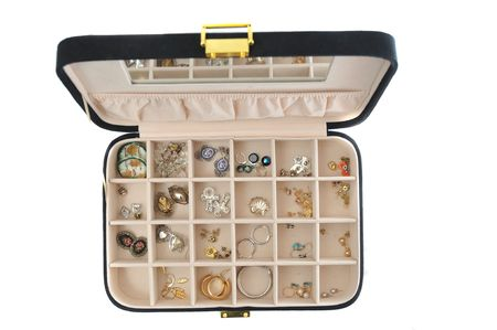 jewlery: An open jewlery box with old jewelry inside isolated on a white background