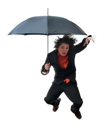 Young businessman leaping with umbrella isolated on white background Stock Photo - 6154197