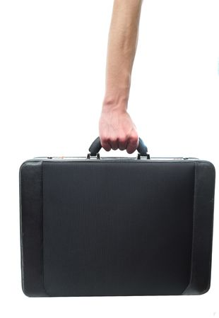Hand and arm holding briefcase isolated on white background