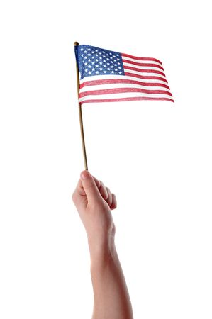 four hands: Hand holding American flag in mid air isolated on white background