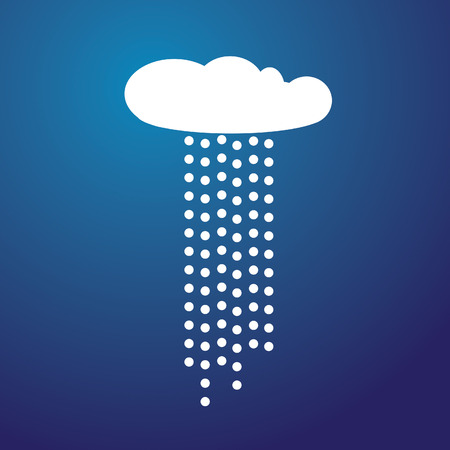 Illustration of a White cloud with rain and blue background Stock Vector - 6200371