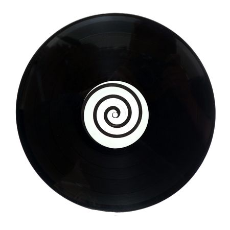 An isolated round circular vinyl lp music record with a spiral design in the middle photo
