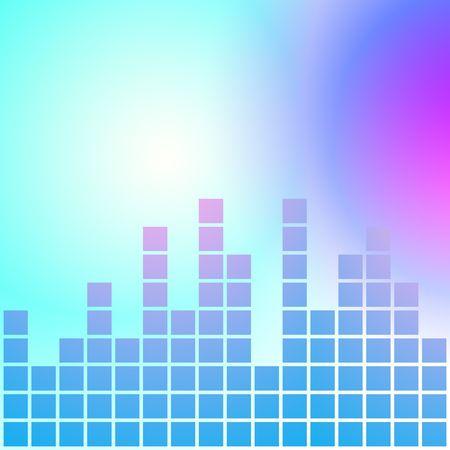 Equalizer made up of blue squares on blurry background. Graphic illustration. illustration