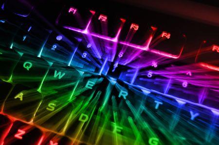 backlit: Un portarretrato abstracta de una arco iris con retroiluminaci�n color iluminada brillante equipo teclado terminal consola.
