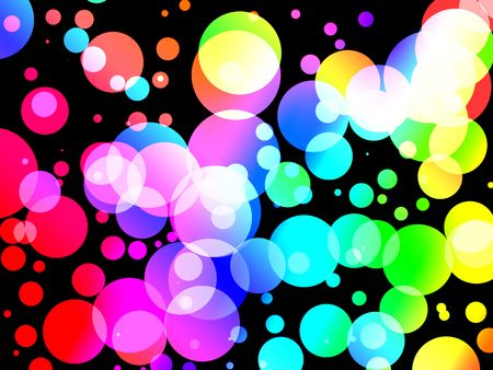 abstract background of Colorful soda fizz bubble dots on black. Graphical illustration.