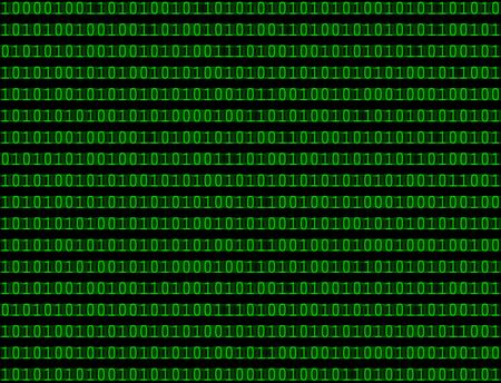 Seamless pattern texture abstract background of binary computer language code in green text.