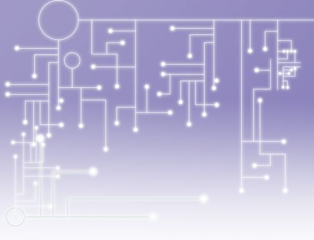 Abstract background of a purple illustration of a circuit board with bright white gradient illustration