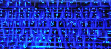backlit keyboard: A transparent, blue backlit keyboard that glows in the dark abstract background