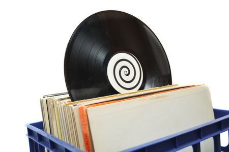 Vinyl LP Record Collection in Crate. This is a popular choice for DJs to store their music photo