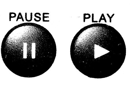 Black and white hard contrast grunge harcore pause and play buttons for audio video media players.