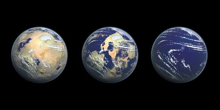 A demonstration of the earth with desert on the left, half land half sea in the middle, and all sea on the right. Stock Photo - 6295237