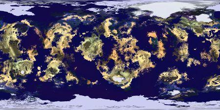 이것은 지구로 알려진 세계처럼 보이는 3D 컴퓨터로 생성 된 행성의 등각 투영지도이지만 풍경과 바다의 무작위 매핑입니다. 스톡 콘텐츠