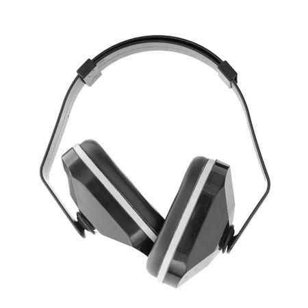 elementos de protección personal: Se trata de un par de manguitos de plástico de oído que bloquean el sonido cuando se coloque sobre orejas una persona. Aislados en blanco.