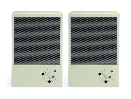 A pair of two computer speakers isolated on white background. Stereo.