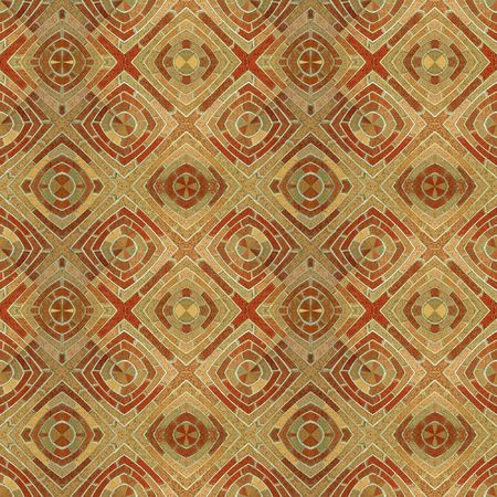 A circular brick pattern background texture of red and brown bricks that makes a seamless pattern when mirrored. photo
