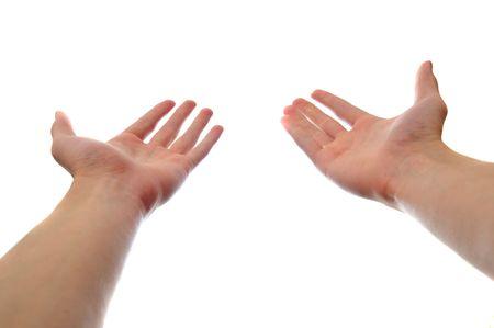 Twee handen te bereiken en een concept geïsoleerd op een witte achtergrond te houden. Eerste persoons perspectief.