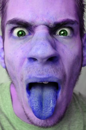 queasy: A sick, disgusted, infected man sticking his tongue out. He is colored purple.
