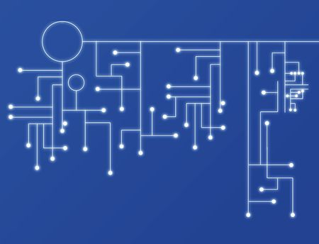 Abstract background of a blue illustration of a circuit board. Stock Illustration - 6295275